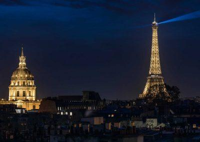 K+K Hotel Cayré Paris Eiffel tower and Invalides view at night